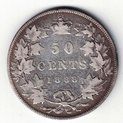 Canada 1888 Fifty Cents Half Dollar Queen Victoria Sterling Silver Coin