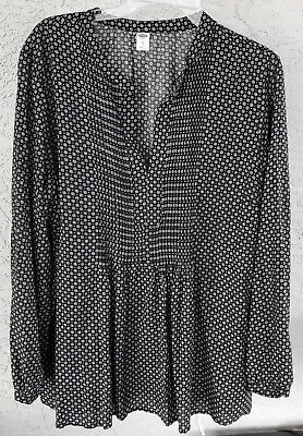 OLD NAVY Black White Print Tucked Front Tunic Top Blouse  NWOT   XL