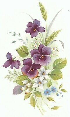 Purple Pansy Blue White Flowers Select-A-Size Waterslide Ceramic Decals Xx