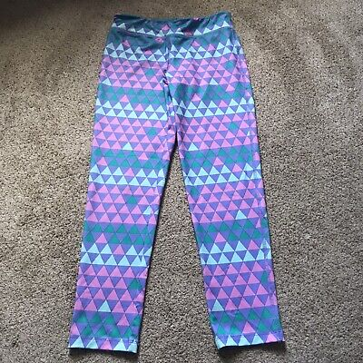 Gap gapfit dry girls leggings teal pink Green Color Block size L (10-11) Full