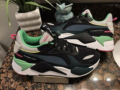 Puma RS-X Toys Reinvention Running System Black White Green Sz 4Y-13 369449/_01
