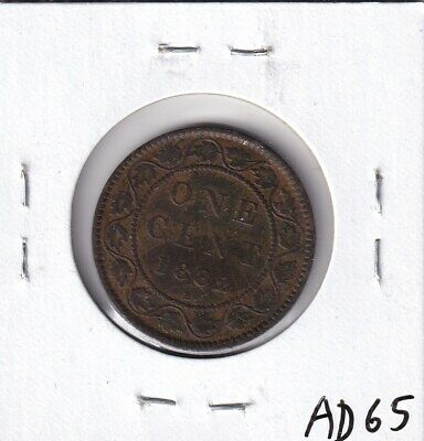 1882 H Canadian Large Cent Fine Copper Victoria!