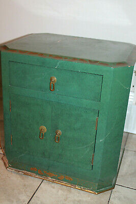 Vintage Chinese Green Faux Marble Lacquer Side Table Cabinet Dresser MCM