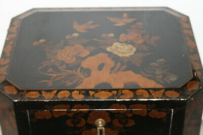 Vintage Chinese Black  Lacquer Gold Painted Side Table Cabinet Dresser MCM