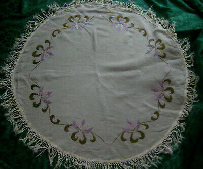 TABLECLOTH antique vintage small round embroidered ecru Linen purple silk floral