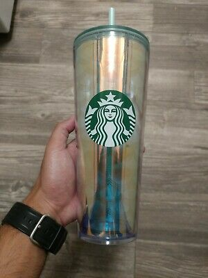 Limited Starbucks 2019 Iridescent Mermaid Scale Mirror Gold Tumbler Venti 24 oz