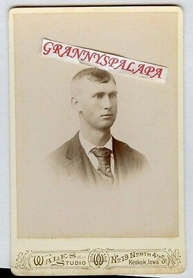 Cabinet Photo - Young Man, Jacket & Tie - Keokuk, Iowa, Nice Condition