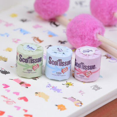 3Pcs Roll of bathroom tissue toilet paper 1:12 dollhouse miniature toy new.