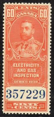 Canada ~ Electric & Gas Inspection 60 ¢~ Sissons R204 ~ Mint Never Hinged ~ MNH