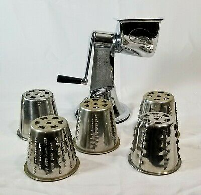 Regalware Food Processor 5 Cones Slicer Grinder Grater Hand Crank Good Suction
