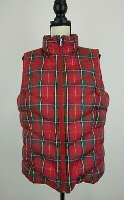 Lands End Puffer Vest Women Large Tall LT Red Plaid Down Feather Quilted B52-13z