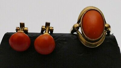antiker KORALLENRING GOLD antique coral Koralle Ring 333 8K RG 50 + Ohrclips