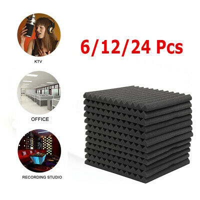 Sound Proofing Foam Pads Acoustic Wall Panels Studio Soundproofing 6/12/24 Pcs