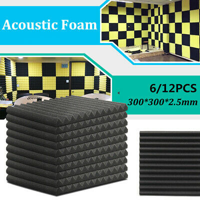 6/12/24 Pcs Sound Proofing Foam Pads Acoustic Wall Panels Studio Soundproofing