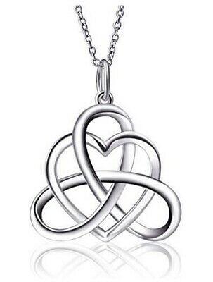 925 Sterling Silver Good Luck Vintage Irish Celtic Knot Heart Pendant NECKLACE