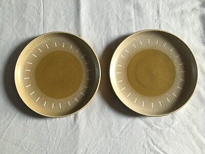 "Pair of Vintage Denby Ode Dinner Plates 10"" mustard yellow brown (plate x 2)"