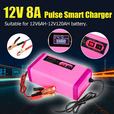 Car Battery Charger 12V 8A LCD Intelligent Automobile Motorcycle Pulse
