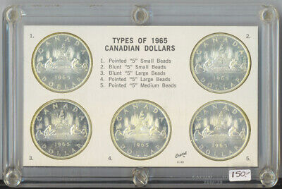 Canada 1965 Types of Canadian Dollars in Capital Holder 5 Coins Silver