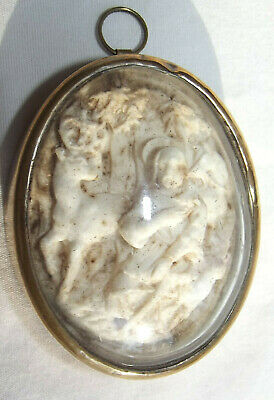 Antique Hand Carved Medallion St Hubert Patron of Hunters French Quebec Unusual