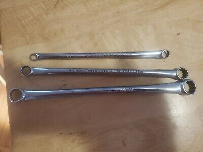 3 Snap-On Xdes 15% Offset Spline Box Wrenches, 1/4-5/16 ,3/8-7/16 & 1/2-9/16