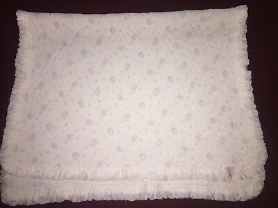 Vintage Quiltex Baby Blanket Quilted White Nylon Pink Blue Yellow Carousels VGUC