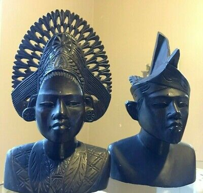 "2 Dark Exotic Wood Carved Busts Warrior Princess BALI  Headdress 11""H BALINESE"