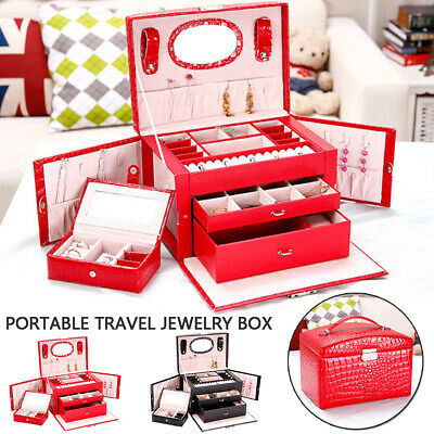Portable Wood Makeup Cosmetic Case Jewelry Display Organizer Box Mirror Storage