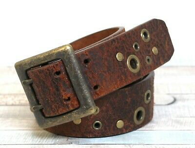 """NEW MENS Distressed Brown REAL LEATHER Casual BELT by PrimeHide up to 48/"""""""