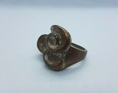 ancient vintage bronze ring viking flower form artifact authentic museum quality