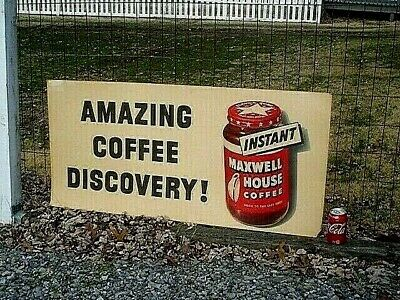Rare Original Vintage 1940's AMAZING COFFEE DISCOVERY Instant Maxwell House Sign