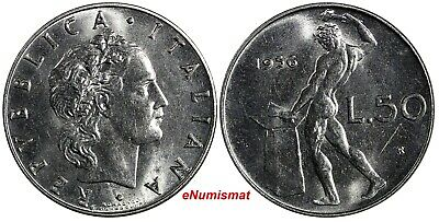 ITALY Stainless Steel 1956 R 50 Lire UNC KM# 95.1
