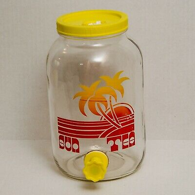 VTG Sun Tea 1 Gallon Glass Jar 70s 80s Retro Graphic Beverage Jug