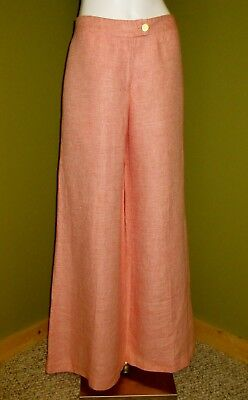 $575 Womens MOSCHINO Wide Leg 100% Linen Pink White TWEED PANTS US 6 UK 8 EU 40