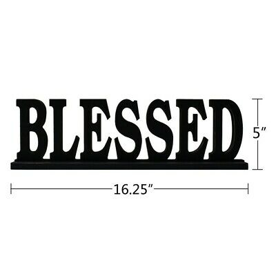 The Black Wood Blessed Cutout Standing Tabletop Sign for Home Decor Shelf Décor