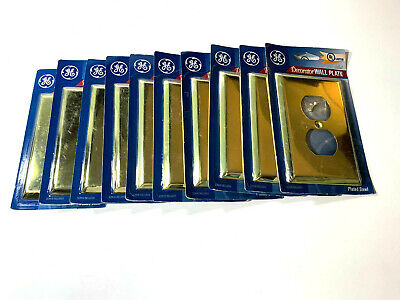 Lot of 10 GE Bright Brass Metal Wall Plate Outlet Covers. New original packaging