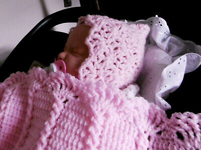 Hand Made Crochet/Knitted Baby Girl Pixie Bonnet, Mittens & Bootees 0-3 months