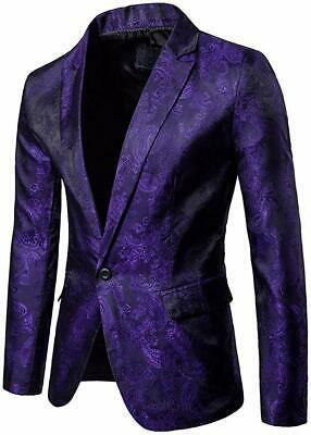 Cloudstyle Mens Slim Fit Paisley Suit Single Breasted Party Suit Jacket 1 Button