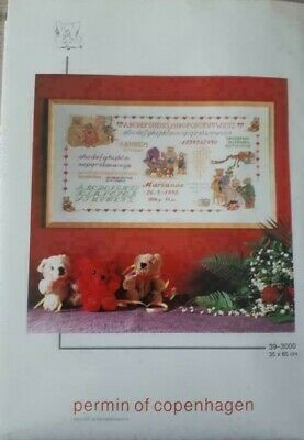 Permin-  X-kit Sampler Birth Teddybears sampler 39-3000 OOP