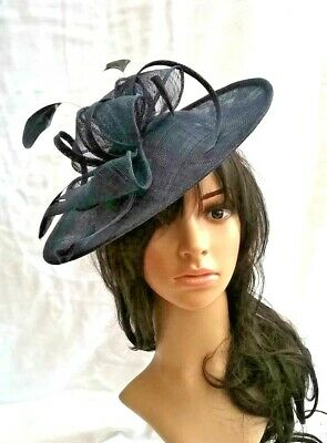 Navy Fascinator Sinamay & feather Shaped saucer disc,Wedding fascinator races