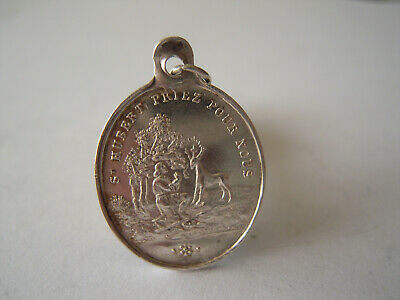 Saint Roch and Saint Hubert. Antique Religious French Silver Pendant. Medal