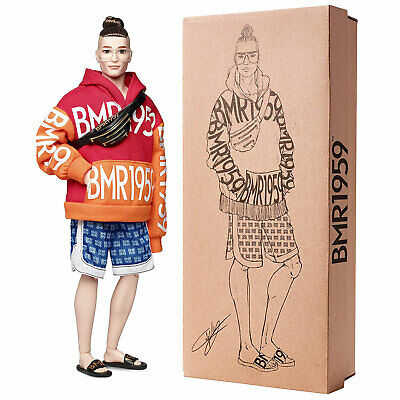 Barbie BMR1959 Fashion Doll Ken with Bun Hairstyle and Orange/Red Hoodie (GHT93)