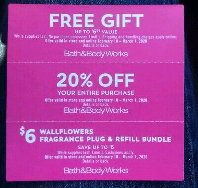 BATH & BODY WORKS COUPONS Gift + 20% + $6 Wallflower