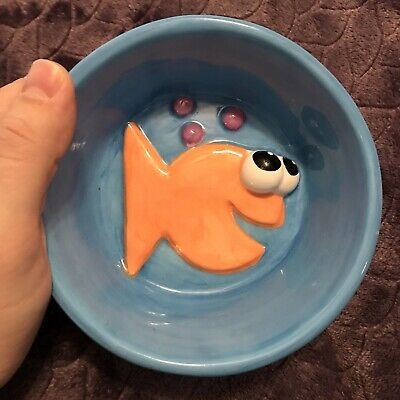 Debby Carman Cat Food Water Dish Blue Fish Ceramic