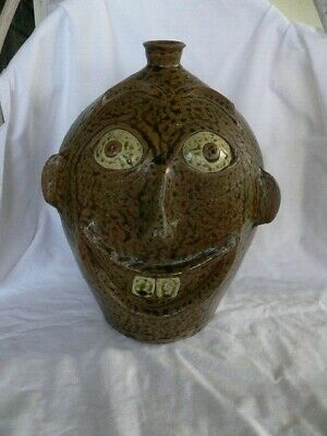 """Hewell Large Pottery  Face Jug 11"""" tall"""