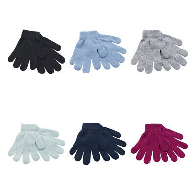 1-6 Pairs Kids Childrens Thermal Magic Winter Gloves Black Mix Colour Boys Girls