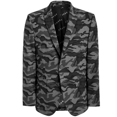 Dkny Boys Classic-Fit Stretch Black/Gray Camouflage Sport Coat, MSRP $125