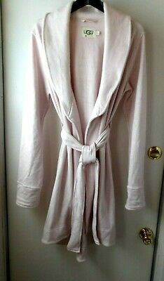 UGG Blanche II Seashell Pink Heather Plush Robe Fleece Lined Size Large L New