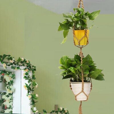 Double 2 Layer Jute Rope Plant Hanger Hanging Basket Pot Holder Flowerbed UK