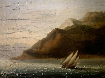 EARLY 19th CENTURY ENGLISH MARINE OIL PAINTING - SAILING SHIP OFF A COASTLINE
