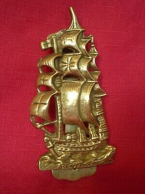 VINTAGE 1930's BRASS GALLEON SHIP DESIGN DOOR KNOCKER